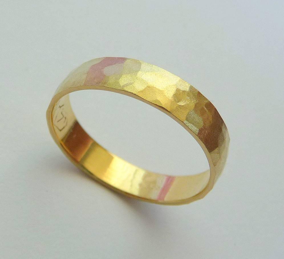 Gold Wedding Band Men Women Ring 14k Hammered 4mm Sandblast Throughout 24k Gold Wedding Bands (View 11 of 15)