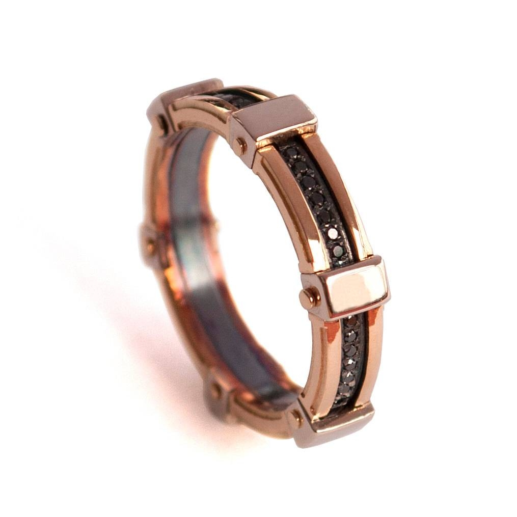 Gold Wedding Band Men's 18K Rose Gold And Black Diamond Throughout Black And Gold Mens Wedding Bands (View 8 of 15)