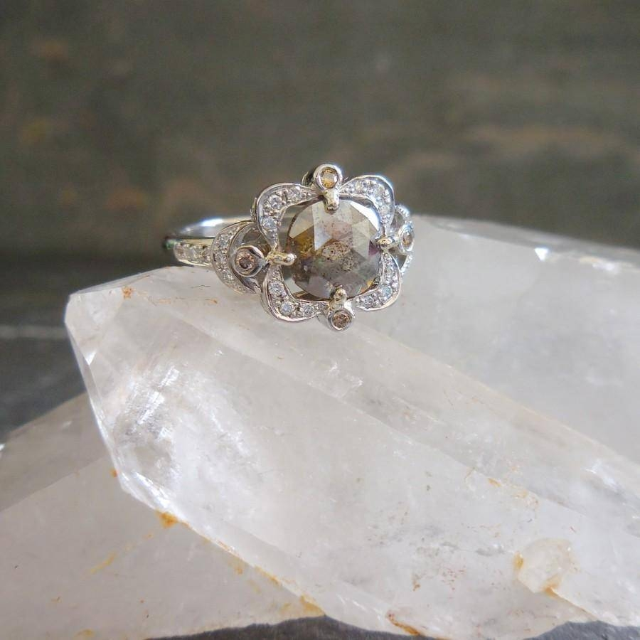 Grey Diamond Ring – Cushion Rose Cut Diamond Engagement Ring Regarding Rustic Engagement Rings (View 9 of 15)