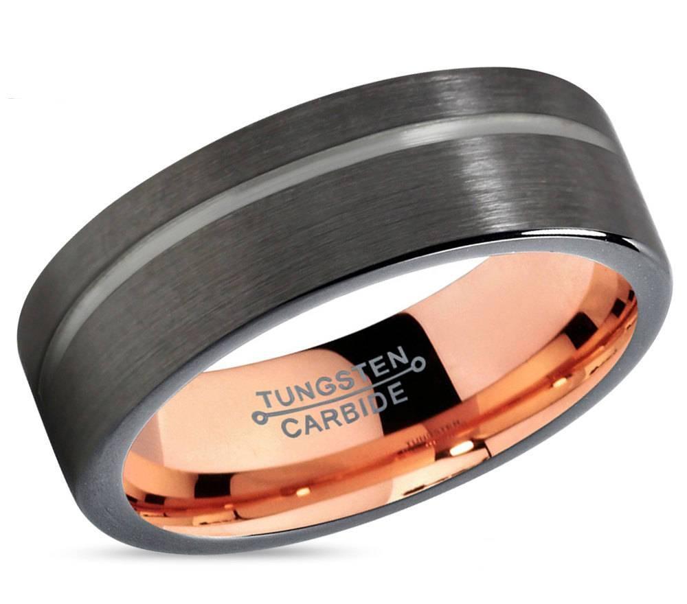 Gunmetal Black Tungsten Ring Rose Gold Wedding Band Ring Throughout Gunmetal Wedding Bands (View 7 of 15)