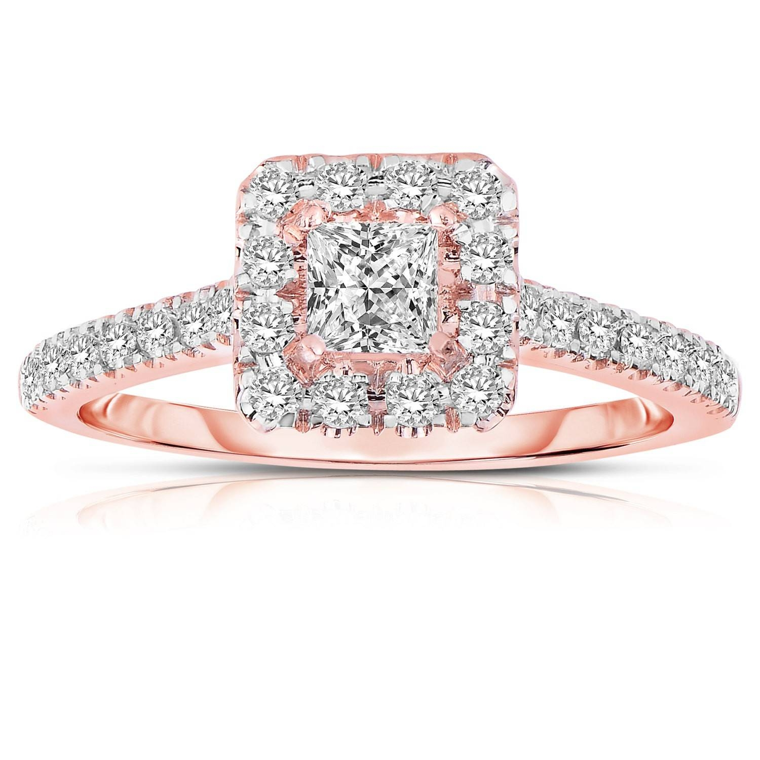 Half Carat Princess Cut Halo Diamond Engagement Ring In Rose Gold Intended For Walmart Princess Cut Engagement Rings (View 6 of 15)