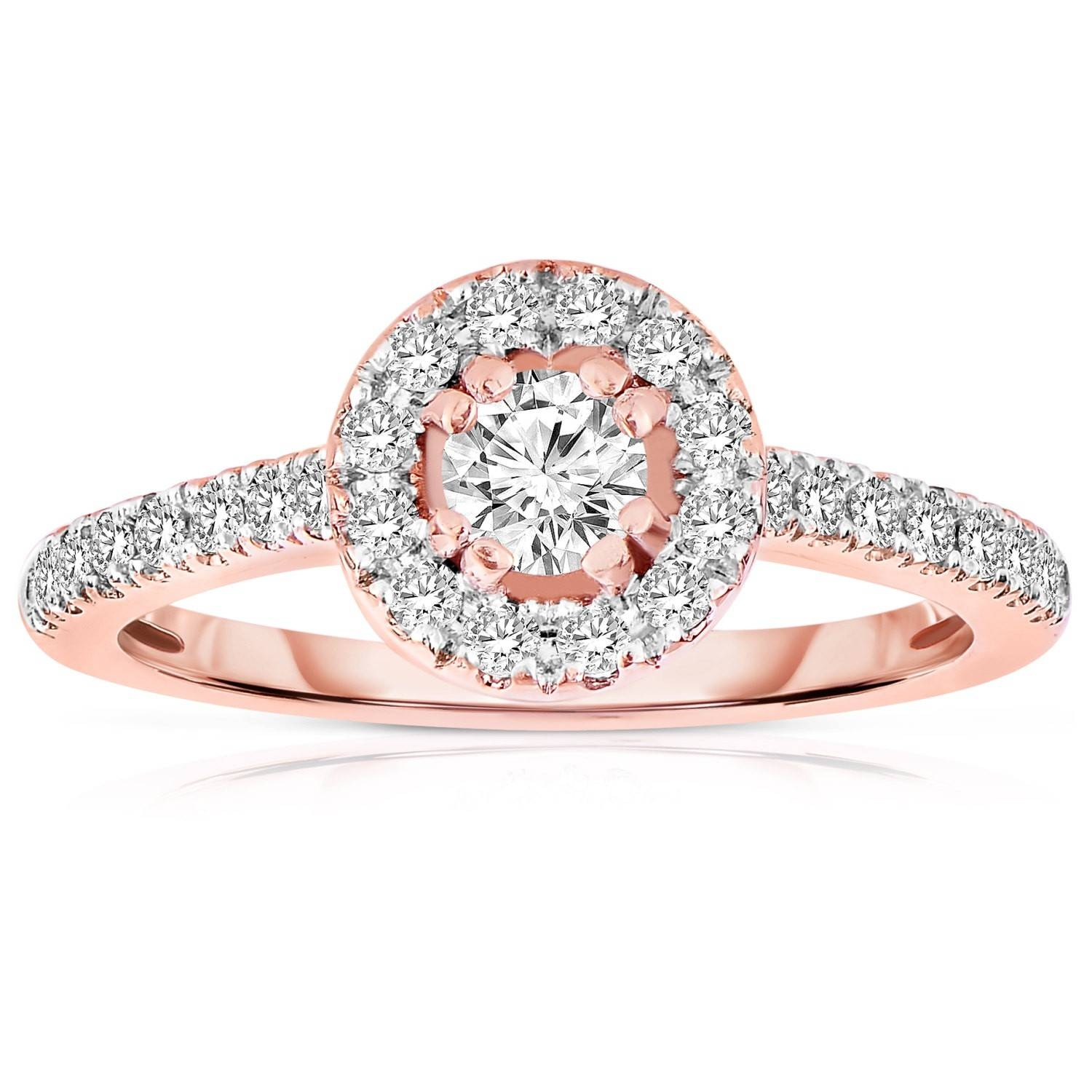 Half Carat Round Cut Halo Diamond Engagement Ring In Rose Gold Pertaining To Halo Diamond Wedding Rings (View 5 of 15)