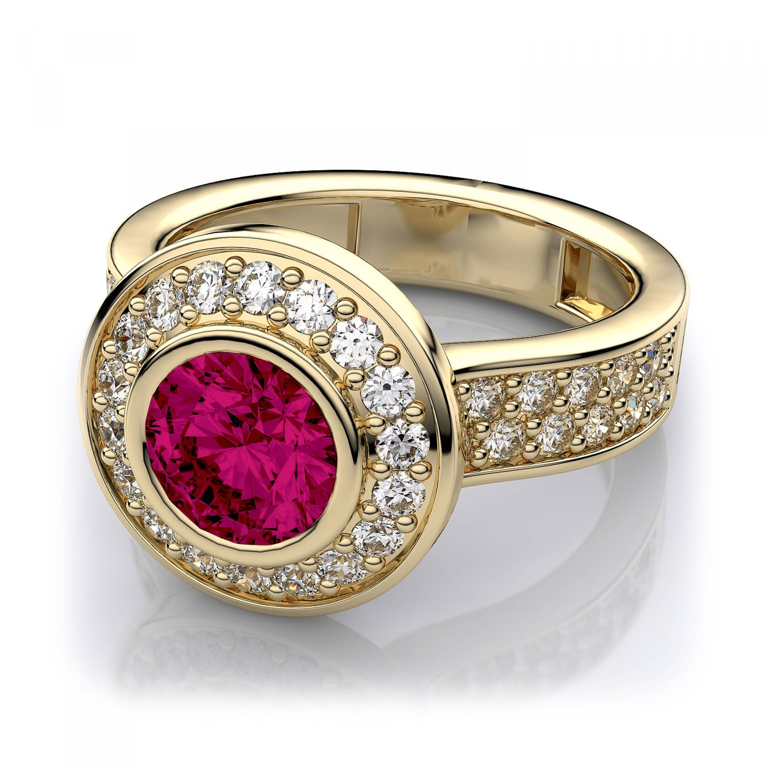 Halo Bezel Set Ruby And Diamond Engagement Ring In 14K Yellow Gold Within Ruby Engagement Rings Yellow Gold (View 8 of 15)