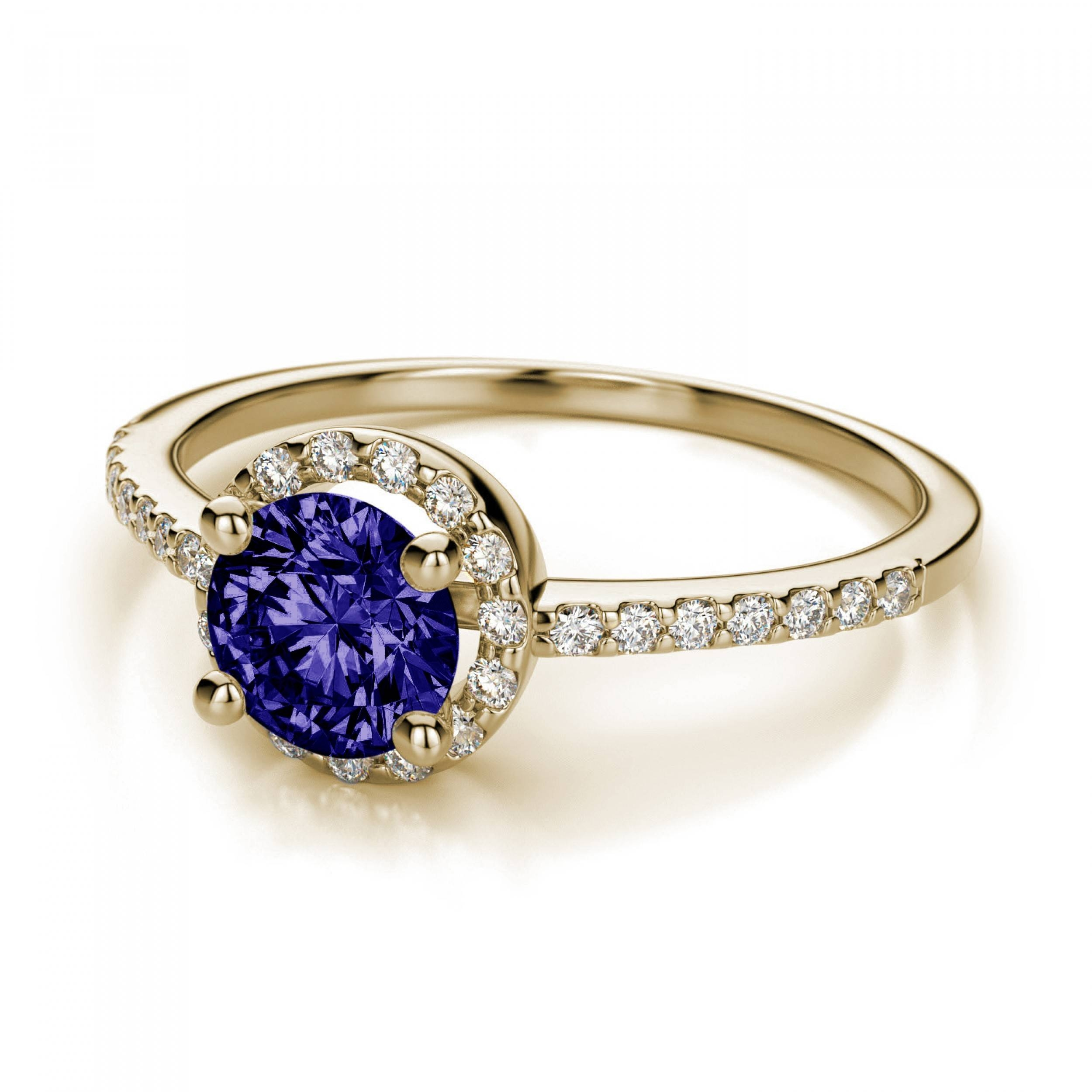 Halo Diamond And 5mm Tanzanite Engagement Ring In 14k Yellow Gold With Regard To Diamond Tanzanite Engagement Rings (View 5 of 15)