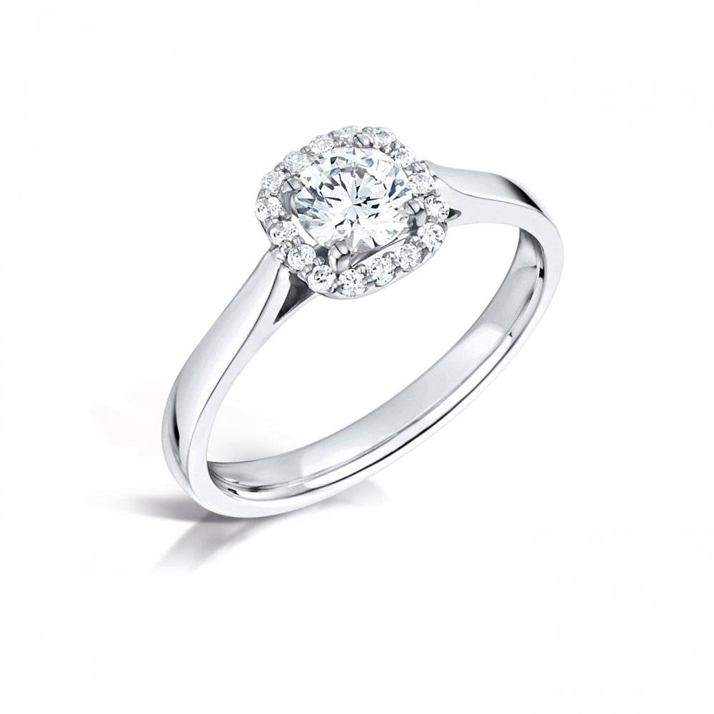 Halo Diamond Cluster Engagement Ring – Clearwater Diamonds Uk In Diamond Cluster Wedding Rings (View 10 of 15)