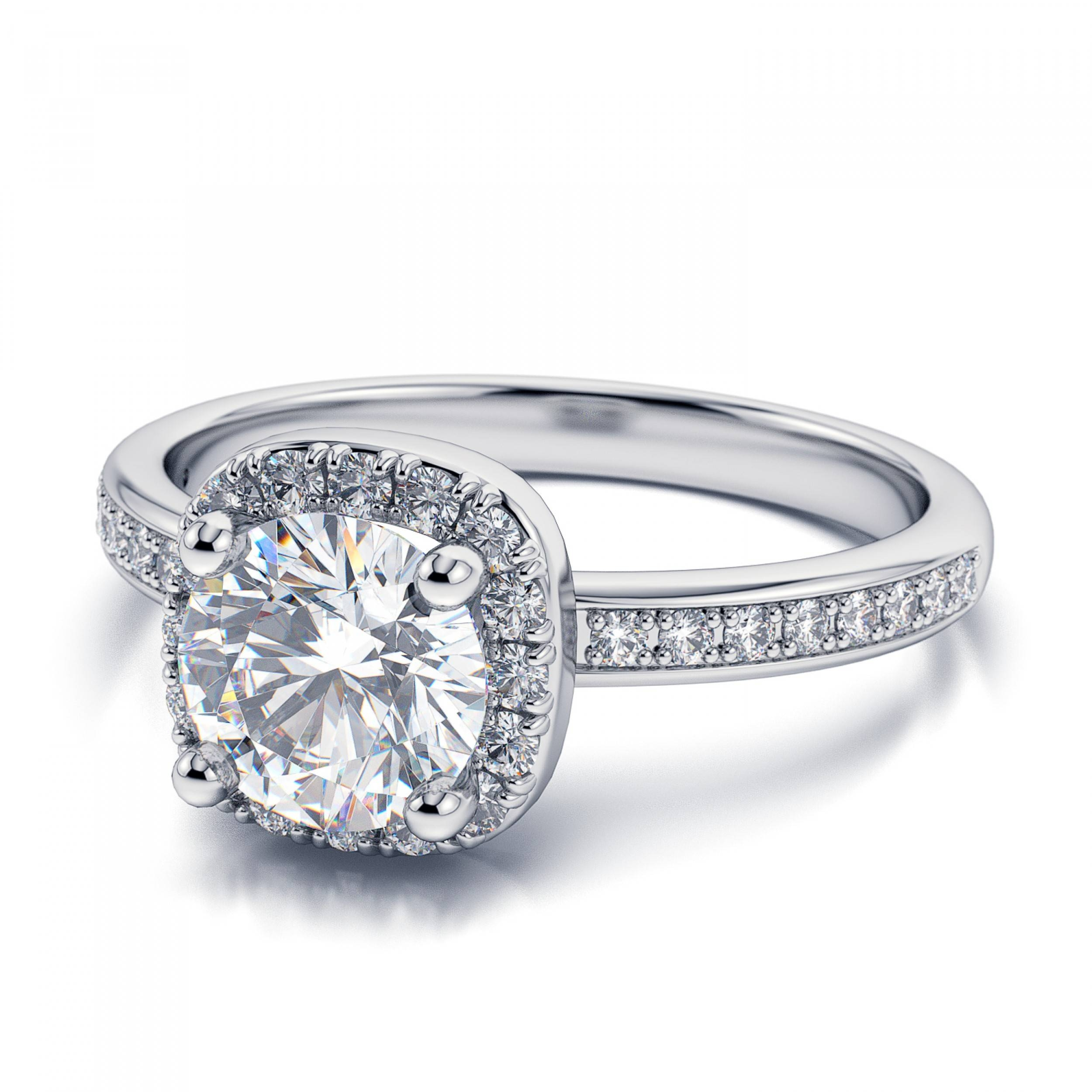 Halo Diamond Or Moissanite Engagement Ring Setting – Platinum For Diamond Wedding Rings Settings (View 9 of 15)