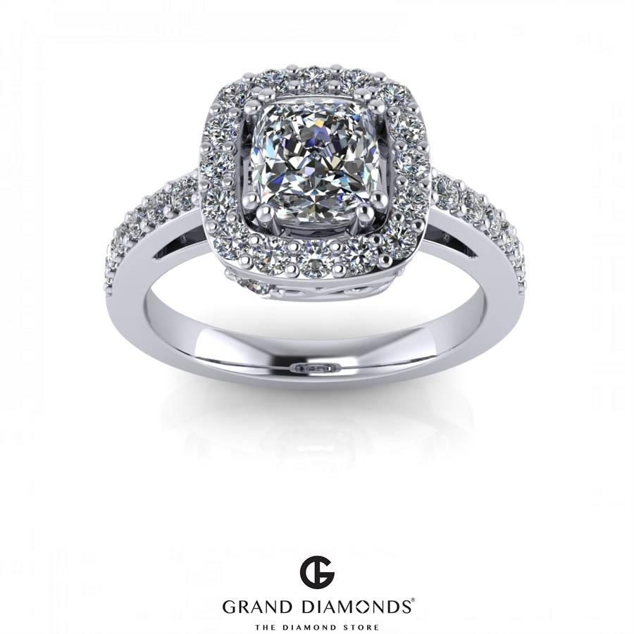 Halo Diamond Platinum Engagement Ring – Grand Diamonds With Halo Diamond Wedding Rings (Gallery 8 of 15)