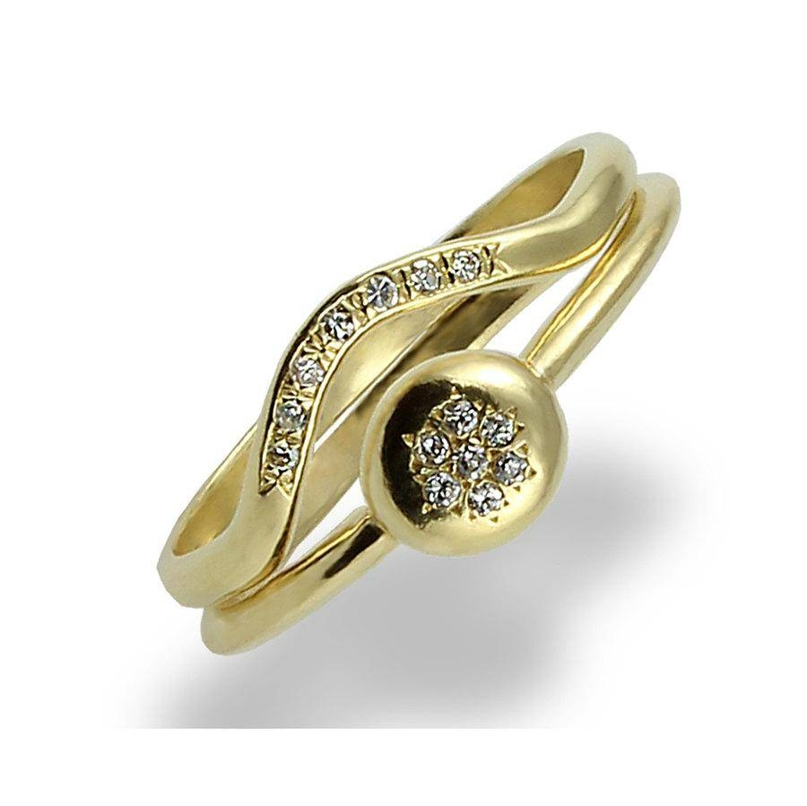 Halo Flower, Diamonds Engagement Ring Set, Yellow Gold, Diamond Inside Gold Engagement And Wedding Rings Sets (View 9 of 15)