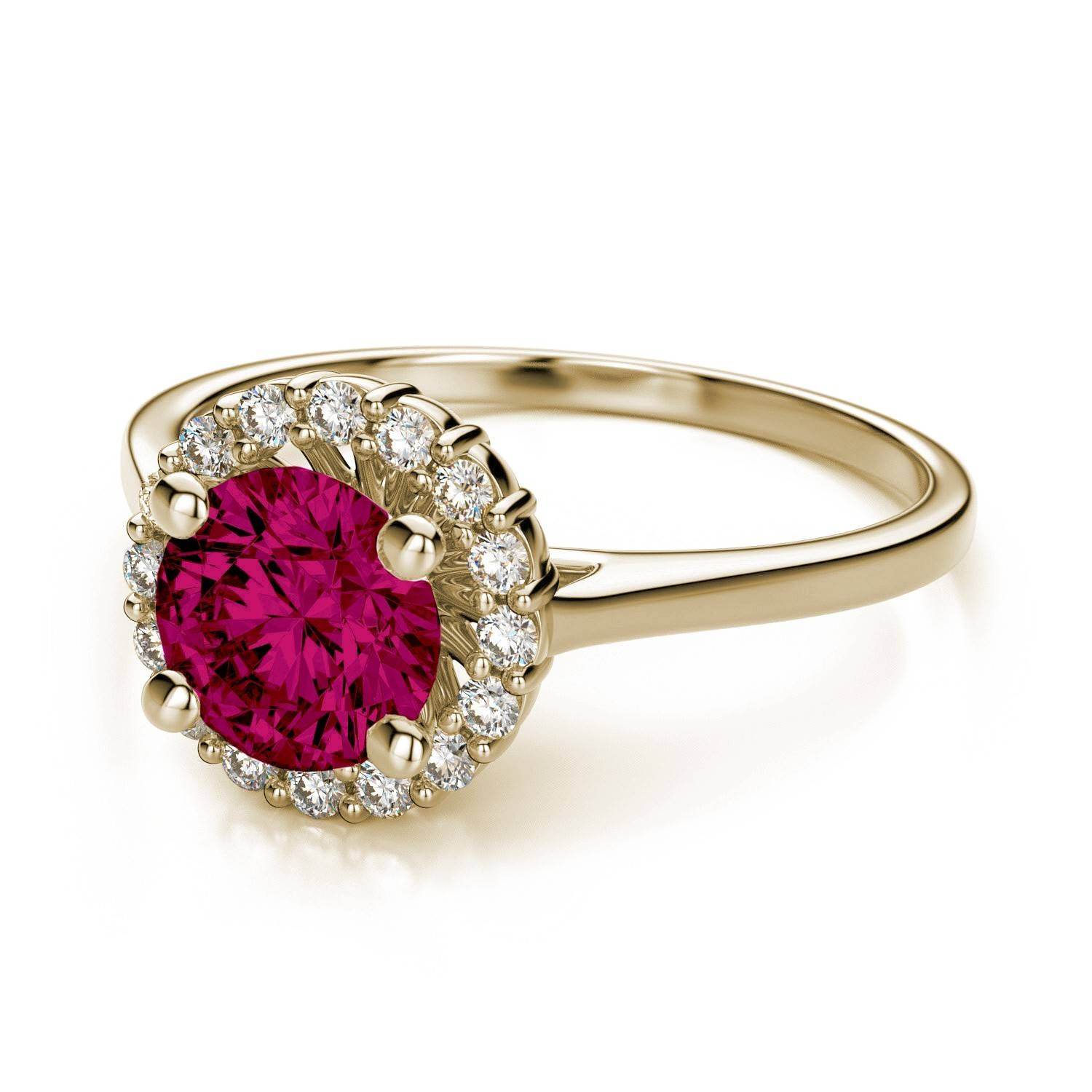Halo Sphere Diamond Sidestones And .70 Carat Ruby Engagement Ring Throughout Gold Ruby Engagement Rings (Gallery 2 of 15)
