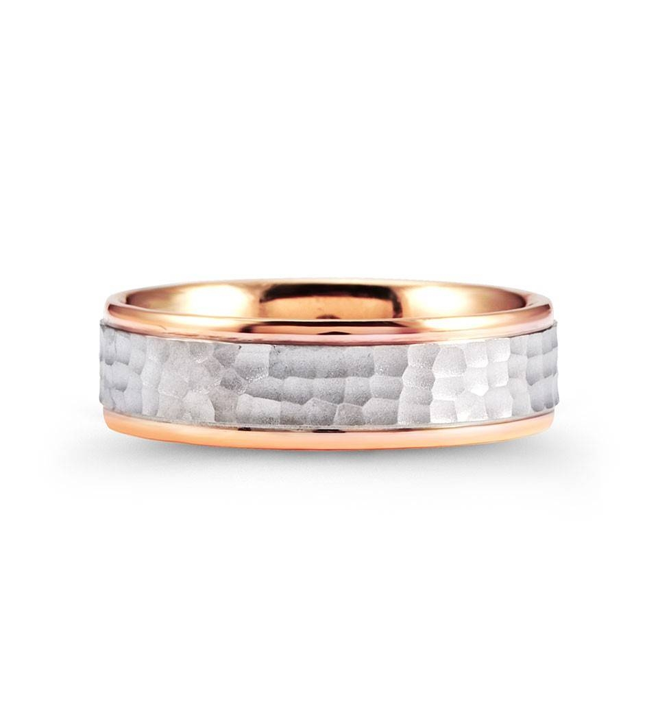 Hammered 14K White Rose Gold Milgrain Wedding Band Ring – Bridal Intended For Hammered Rose Gold Wedding Bands (View 8 of 15)