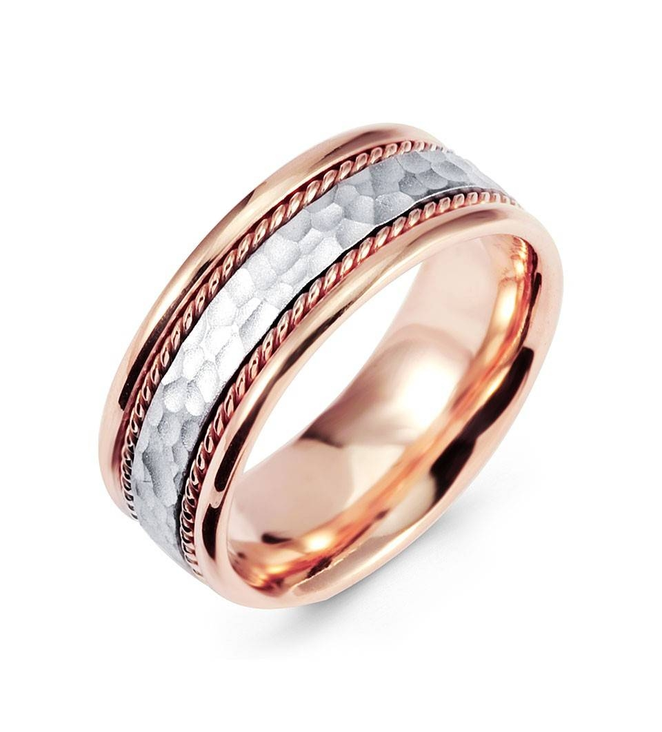 Hammered 14K White Rose Gold Milgrain Wedding Band Ring – Wedding Intended For Rose And White Gold Wedding Rings (View 5 of 15)