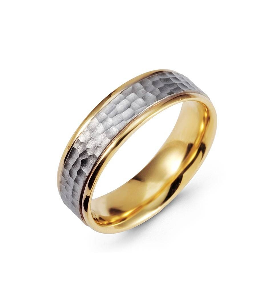 Hammered 14K Yellow White Gold Wedding Band Two Tone – Bridal Jewelry For White Gold And Yellow Gold Wedding Rings (Gallery 9 of 15)