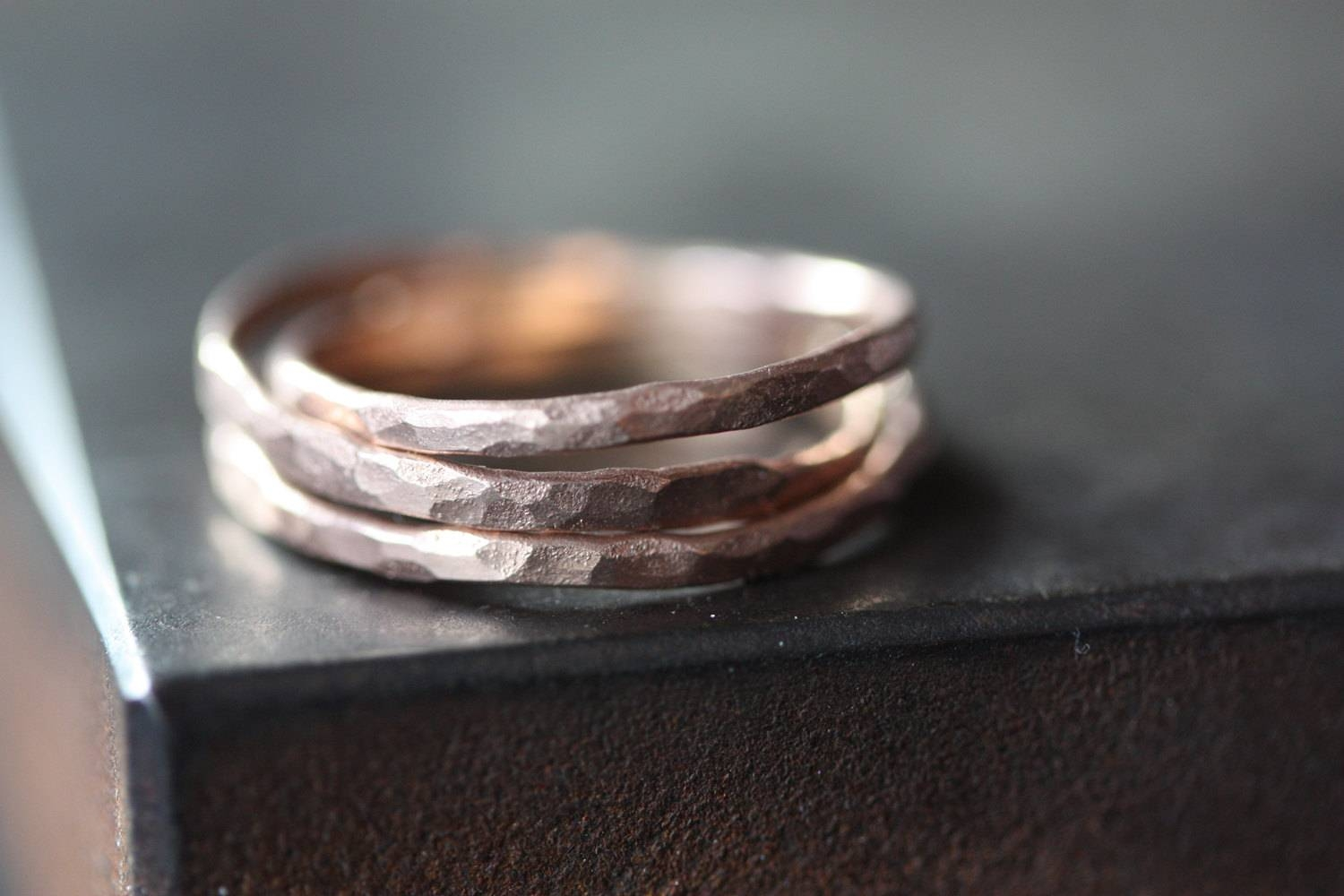 Hammered Rose Gold Stacking Ring Wedding Band For Hammered Rose Gold Wedding Bands (View 9 of 15)