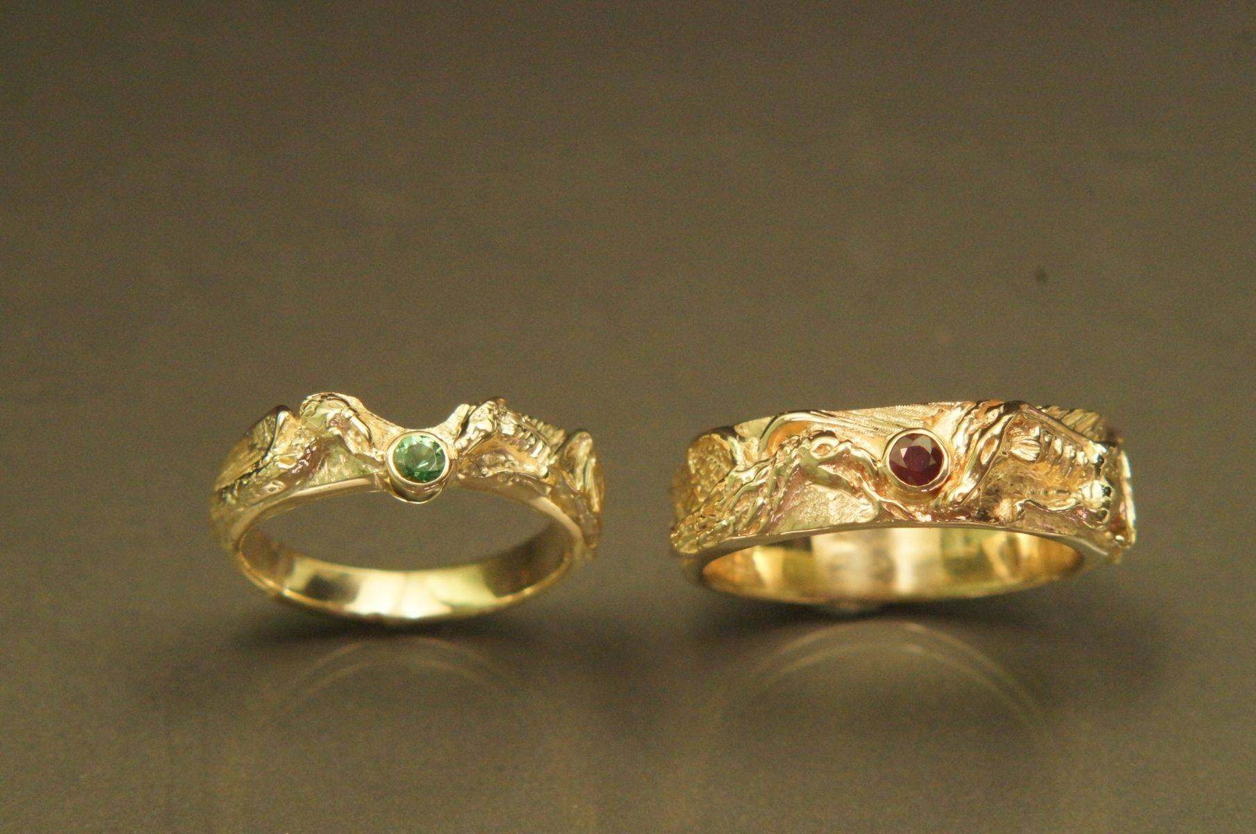 Hand Crafted Dragon & Phoenix Carved Ringsfrank Goss Goldsmith With Carved Wedding Rings (View 5 of 15)