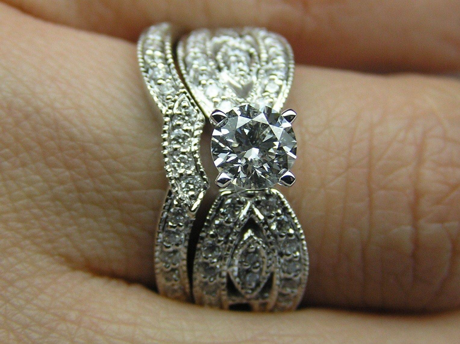 Hand Crafted Round Diamond Butterfly Engagement Ring & Matching In Hand Crafted Engagement Rings (View 9 of 15)