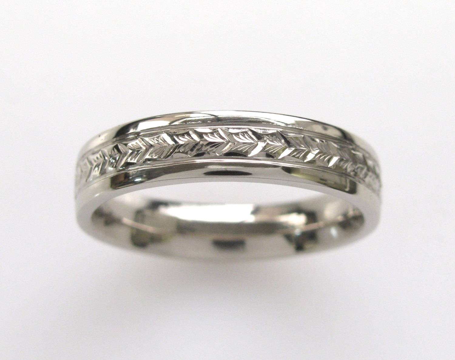 Hand Engraved Mens Wedding Band With Wheat Leaf Pattern With Engraving Mens Wedding Bands (View 6 of 15)