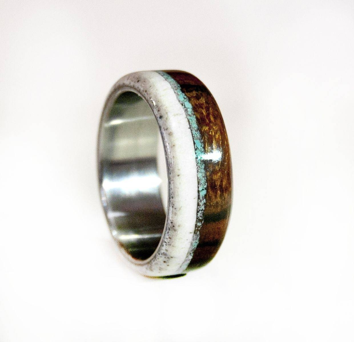 Hand Made Mens Wedding Band Wood And Antler With Turquoise And Inside Horn Inlay Titanium Wedding Bands (View 5 of 15)