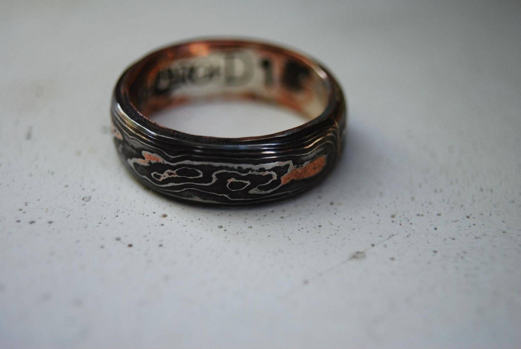Hand Made Pattern Welded, Damascus, Woodgrain Wedding Band Pertaining To Damascus Mens Wedding Bands (View 8 of 15)