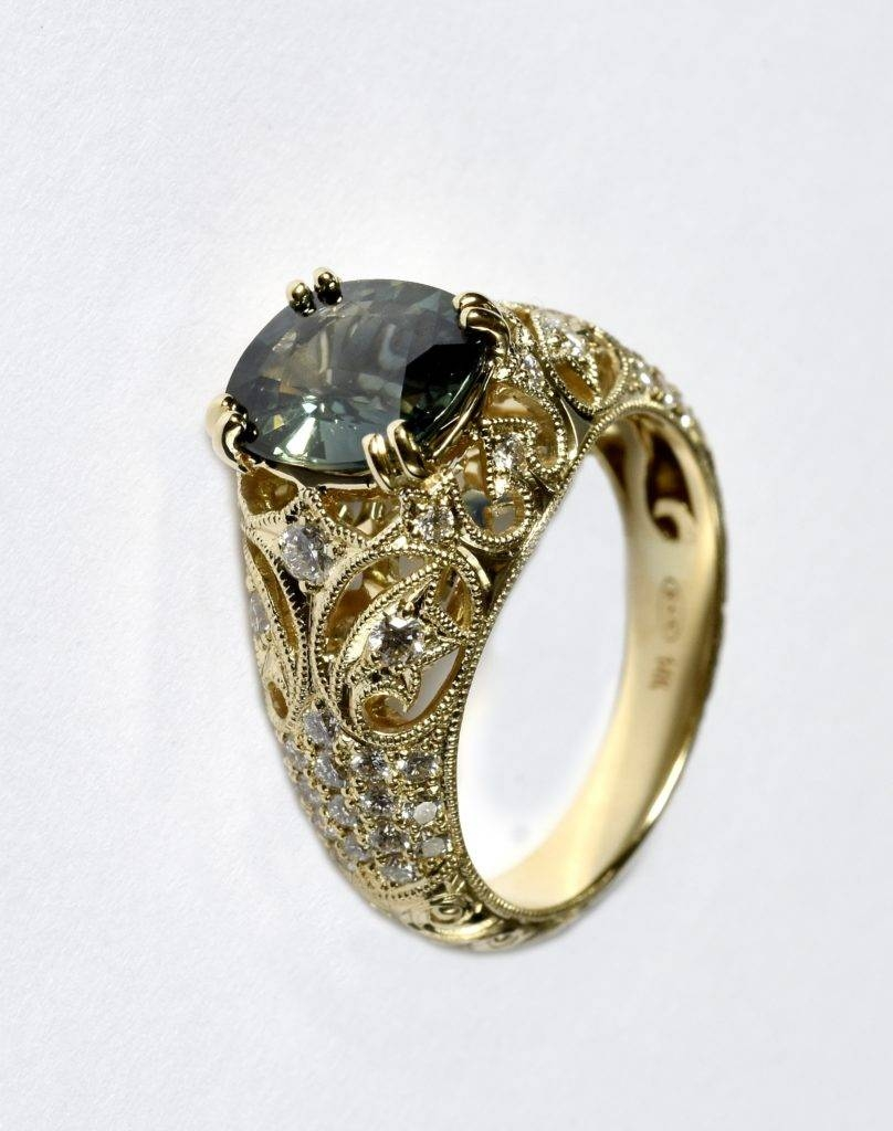 Handcrafted Green Sapphire Engagement Ring Intended For Handcrafted Engagement Rings (View 10 of 15)