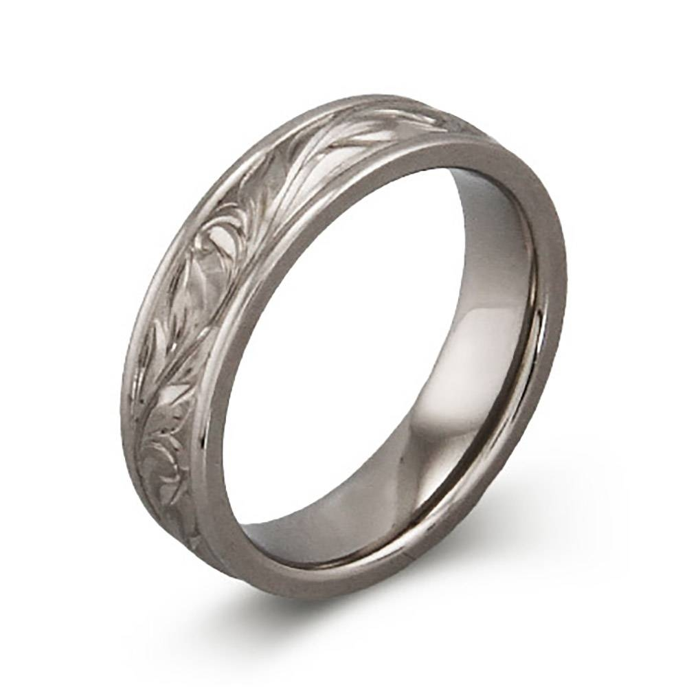 Handcrafted Vine Design Titanium Ring | Eve's Addiction® Intended For Engravable Titanium Wedding Bands (View 4 of 15)