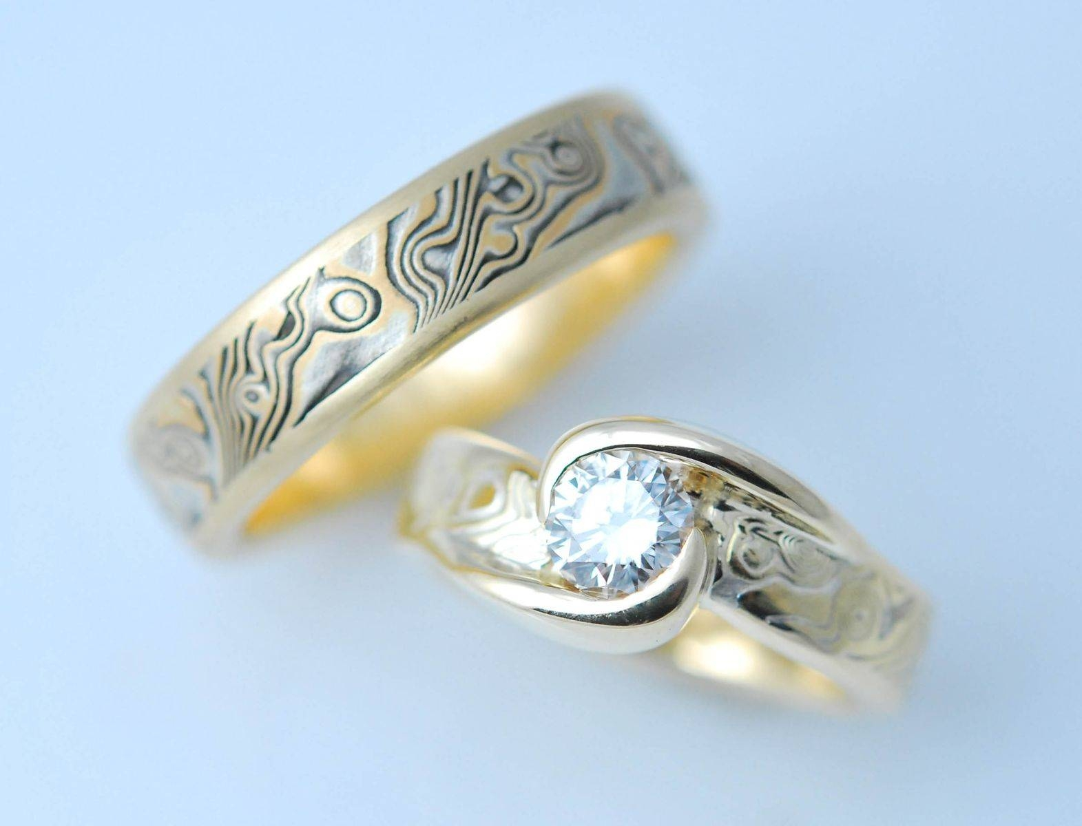 Handmade Custom 18k Yellow Gold And Sterling Wedding Mokume Gane With Mokume Engagement Rings (View 6 of 15)
