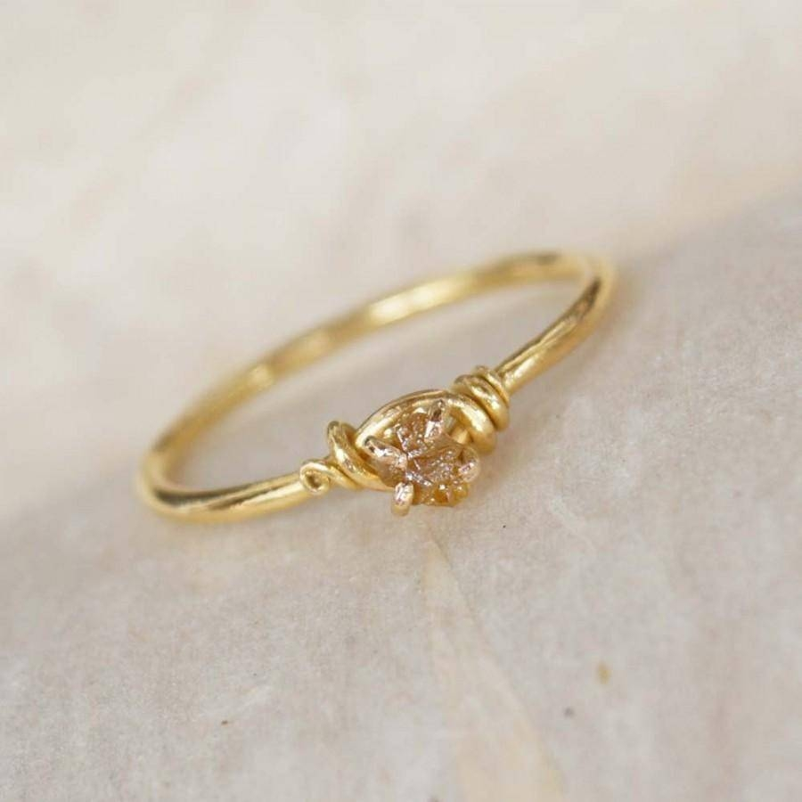 Handmade, Diamond Engagement Ring, 18K Solid Gold Ring, Wire Wrap In Hand Made Engagement Rings (Gallery 8 of 15)