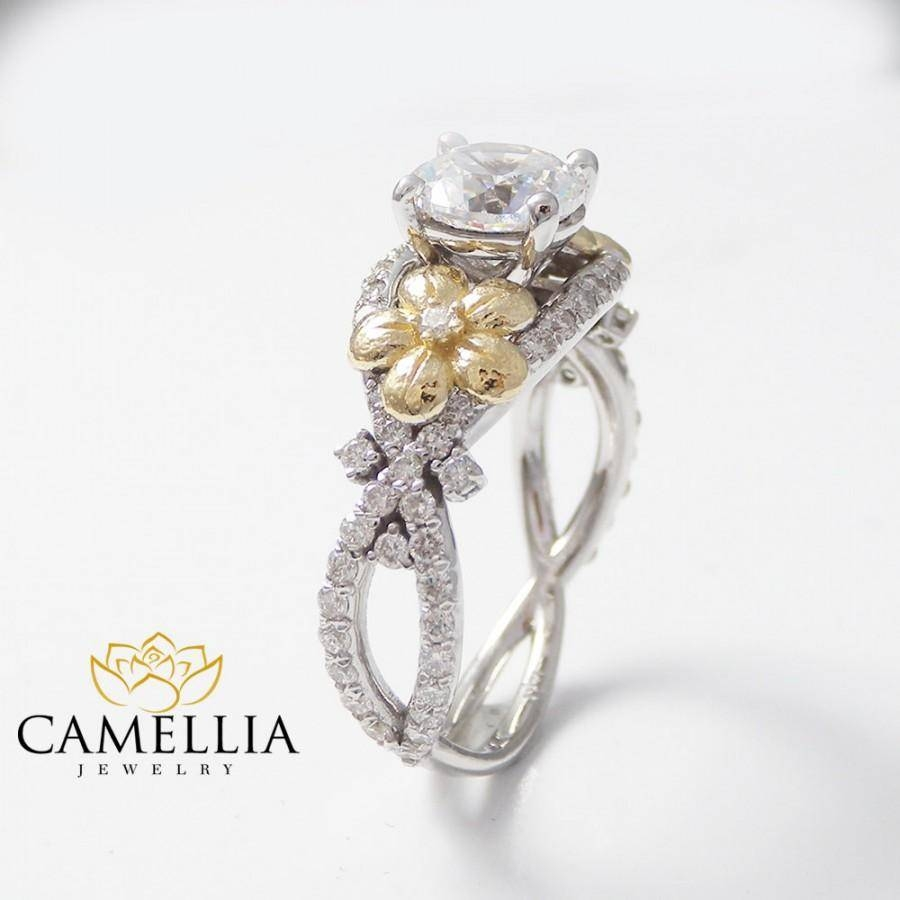 Handmade Diamond Ring, Floral Diamond Engagement Ring, Alternative Regarding Hand Made Engagement Rings (Gallery 7 of 15)