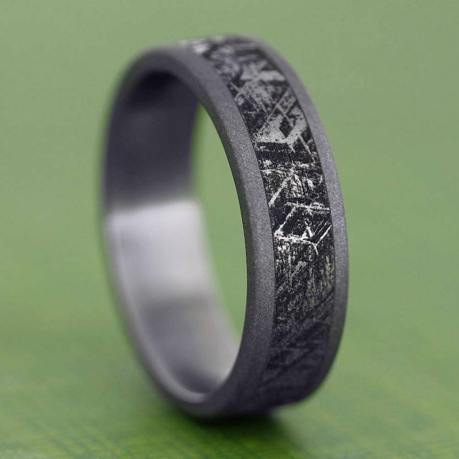 Handmade Mimetic Meteorite Ring, Sandblasted Titanium Wedding Band Within Engravable Titanium Wedding Bands (Gallery 5 of 15)