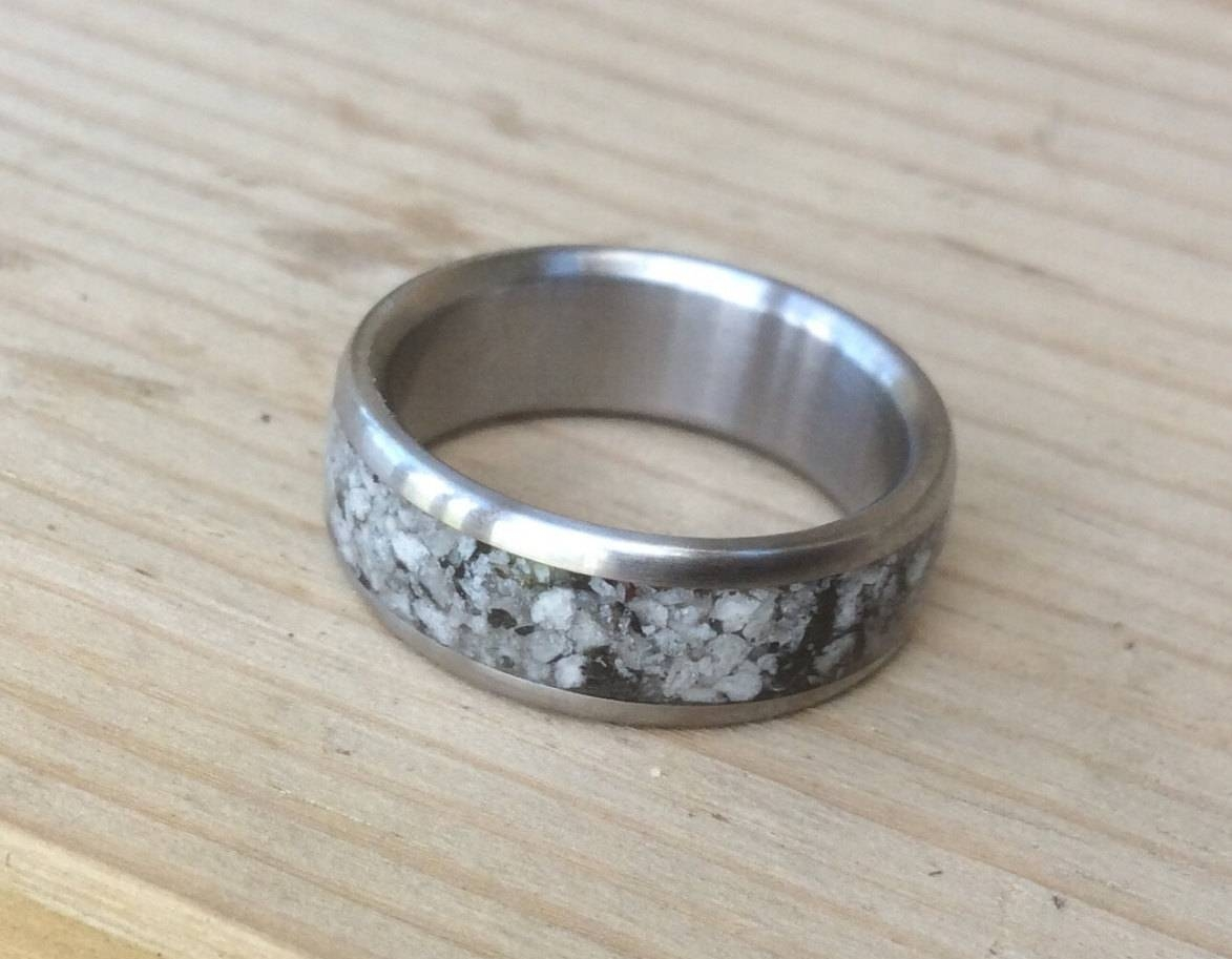 Handmade Ring, Titanium And Granite Ring, Wedding Ring, Mens Ring Throughout Handmade Men's Wedding Bands (View 4 of 15)