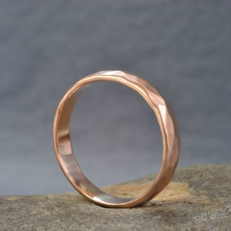 Handmade Rose Gold Hammered Wedding Ringmuriel & Lily In Hammered Rose Gold Wedding Bands (View 11 of 15)
