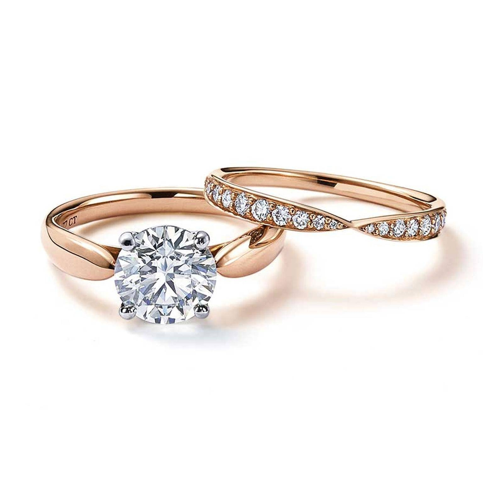 Harmony Rose Gold Engagement Ring With A Central Solitaire Diamond With Gold Engagement Rings And Wedding Bands (View 4 of 15)