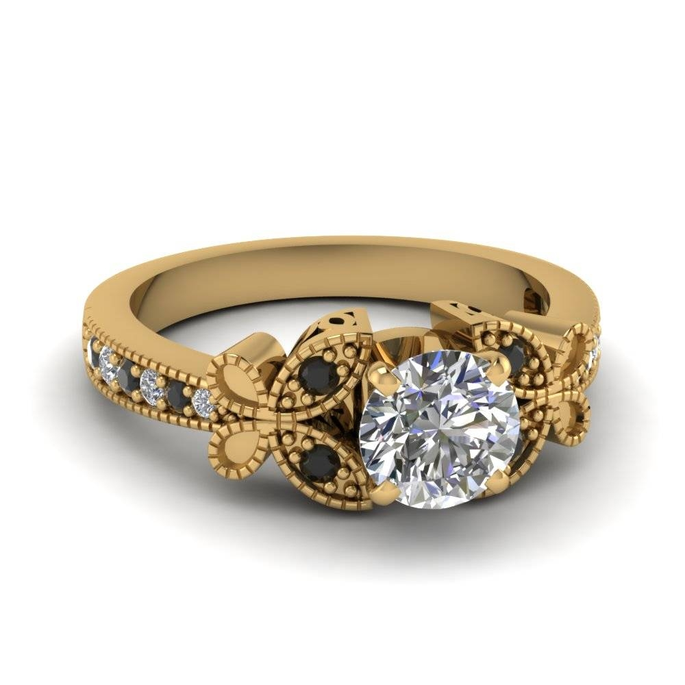 Have A Look At Our 18K Yellow Gold Milgrain Engagement Rings Regarding Engagement Rings 18K Yellow Gold (View 7 of 15)