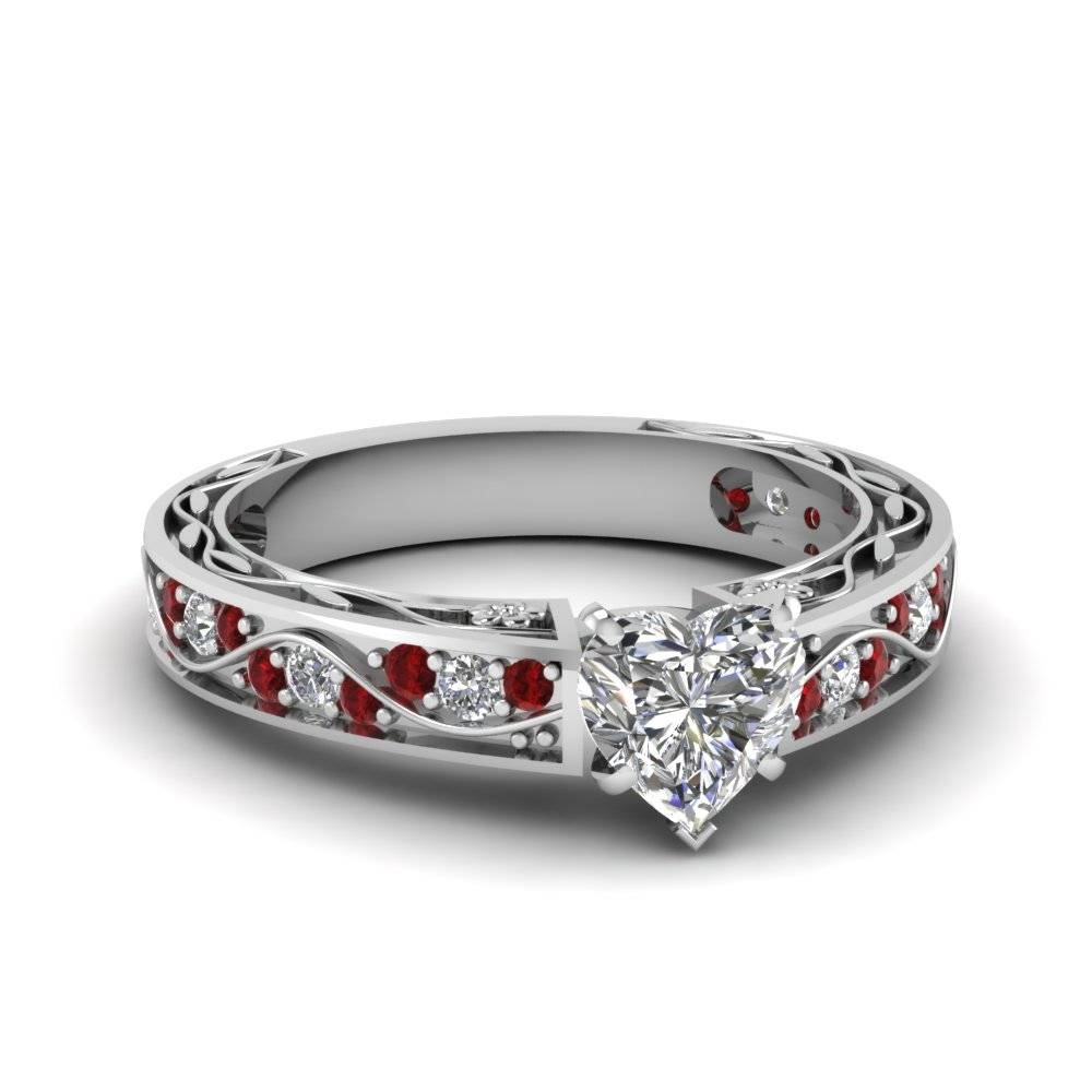 Heart Shaped Antique Filigree Diamond Ring With Ruby In 14K White Pertaining To Heart Engagement Rings (Gallery 2 of 15)