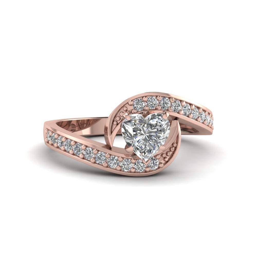 Heart Shaped Bypass Traditional Delicate Diamond Ring In 14k Rose Pertaining To Traditional Gold Engagement Rings (View 6 of 15)