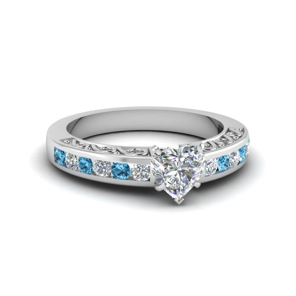 Heart Shaped Channel Set Diamond Vintage Engagement Ring Ice Blue For Wave Engagement Rings (Gallery 9 of 15)