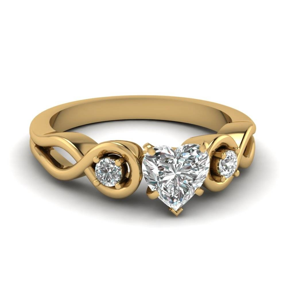 Heart Shaped Diamond Engagement Ring In 18K Yellow Gold For Heart Engagement Rings (Gallery 8 of 15)