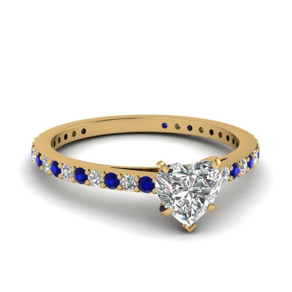 Heart Shaped Diamond Engagement Ring With Blue Sapphire In 14k With Classic Gold Wedding Rings (View 6 of 15)