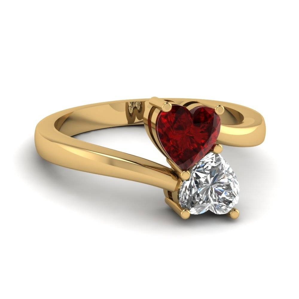 Heart Shaped Diamond Heart Pair Side Stone Ring With Red Ruby In Regarding Engagement Rings Pair (View 11 of 15)