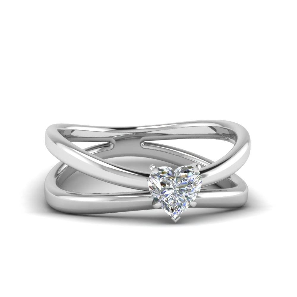 Heart Shaped Diamond Reversed Split Solitaire Engagement Ring In Intended For Diamond Solitaire Wedding Rings (View 4 of 15)