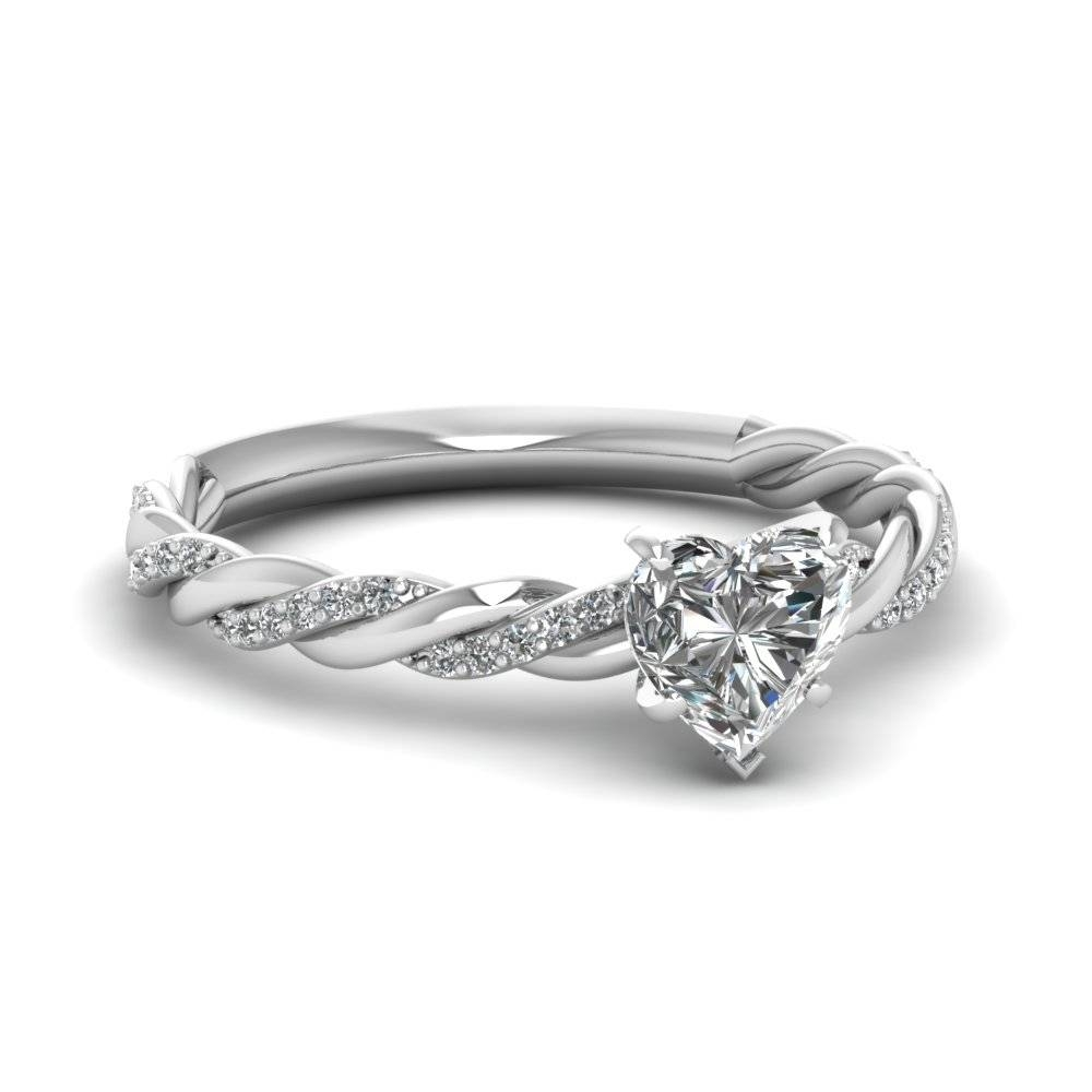 Heart Shaped Diamond Sequined Braid Halo Ring In 14K White Gold Inside Diamond Braided Engagement Rings (Gallery 3 of 15)