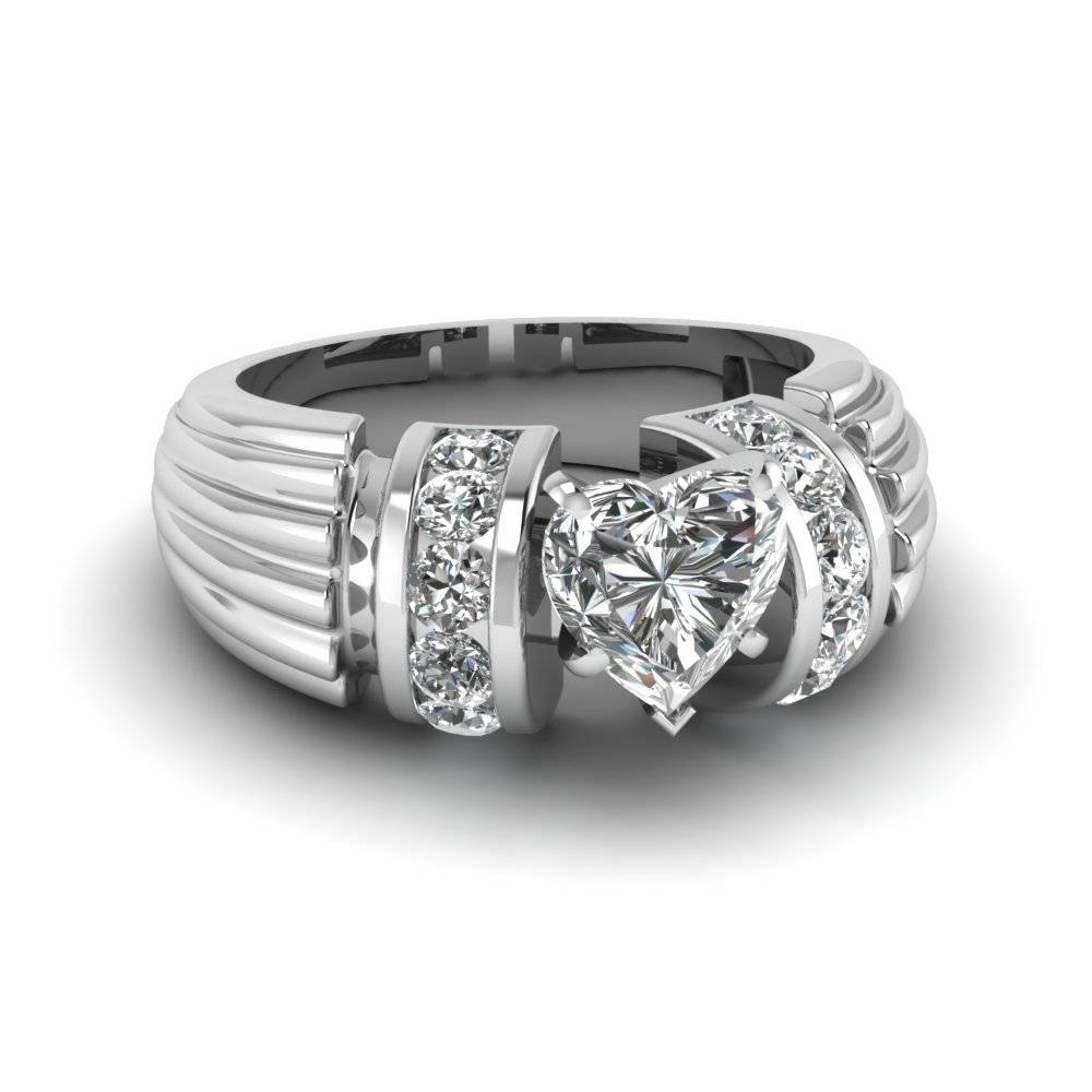 Heart Shaped Diamond Thick Etched Side Stone Ring In 950 Platinum Pertaining To Etched Wedding Rings (View 7 of 15)