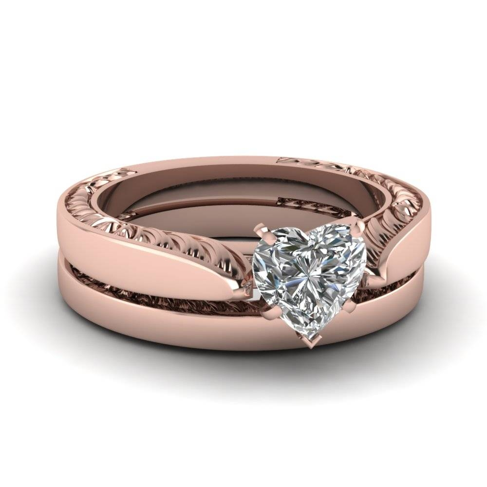 Heart Shaped Diamond Wedding Ring Set In 14K Rose Gold In Rose Gold Wedding Bands Sets (View 4 of 15)