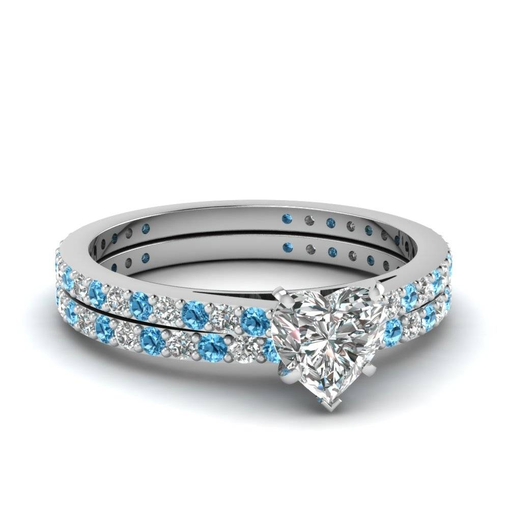 Heart Shaped Diamond Wedding Ring Set With Ice Blue Topaz In 14K With Blue Diamond Wedding Ring Sets (View 9 of 15)
