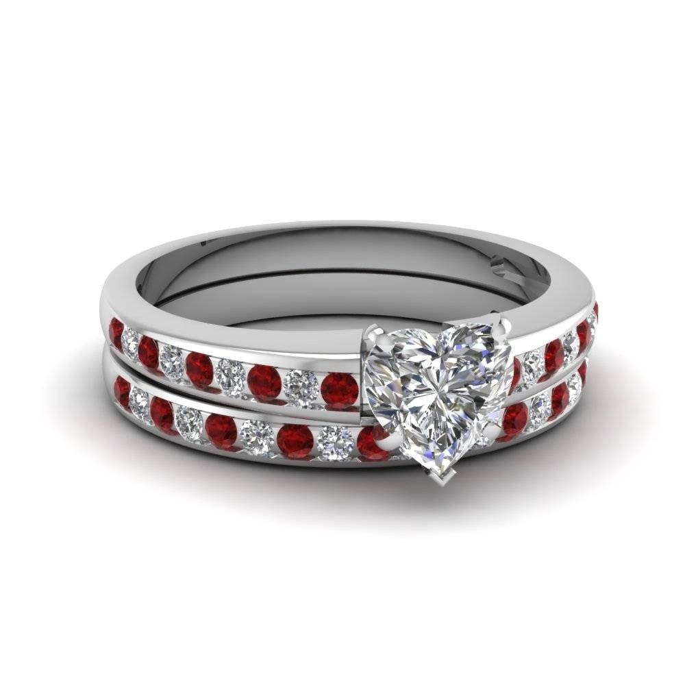 Heart Shaped Diamond Wedding Ring Set With Red Ruby In 14k White Intended For White Gold Wedding Rings Sets (View 12 of 15)