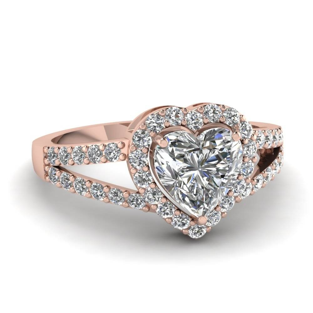 Heart Shaped Halo Diamond Split Shank Ring In 14K Rose Gold Pertaining To Wedding Rings That Looks Like A Rose (View 7 of 15)