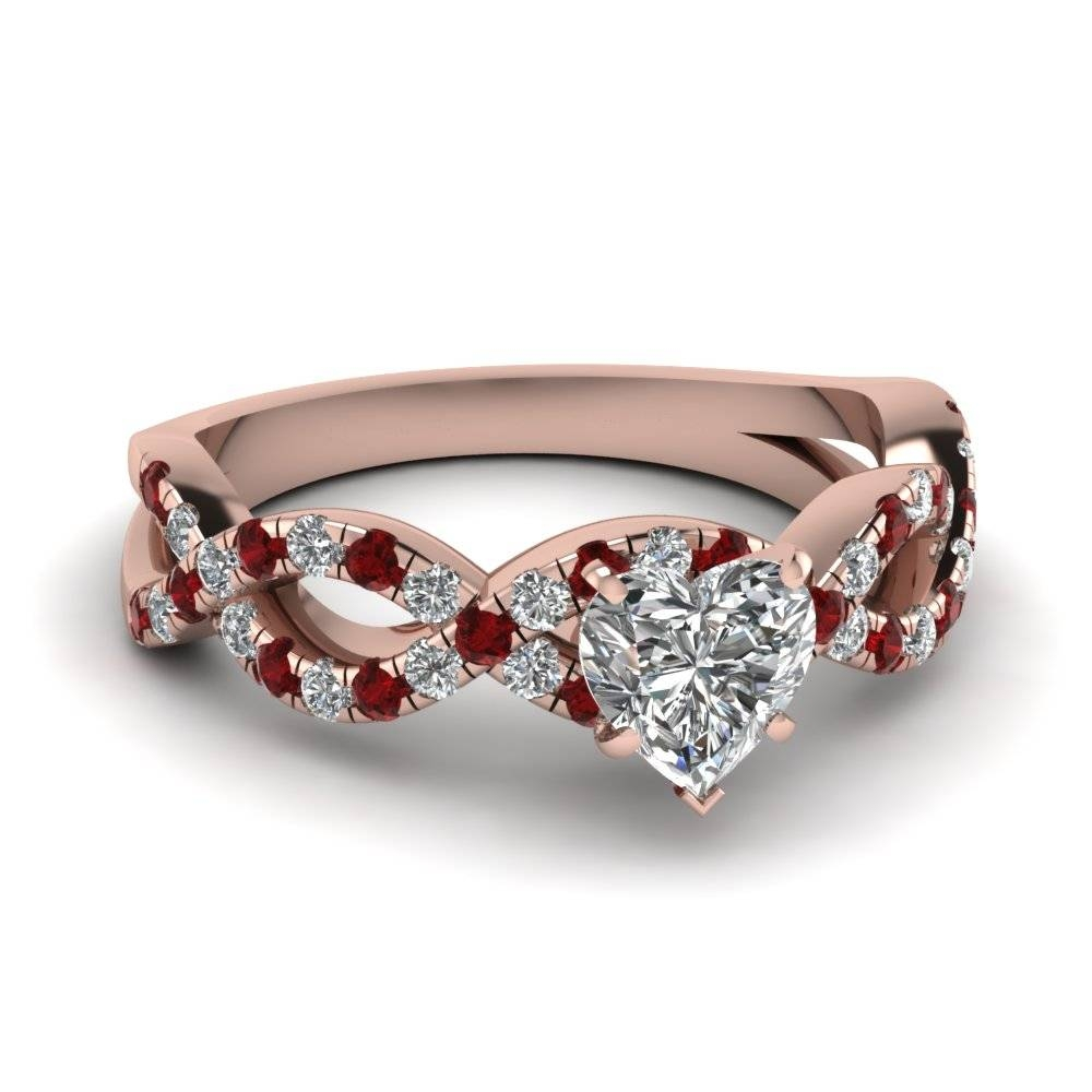 Heart Shaped Infinity Diamond Ring With Ruby In 14k Rose Gold Throughout Heart Engagement Rings (View 4 of 15)