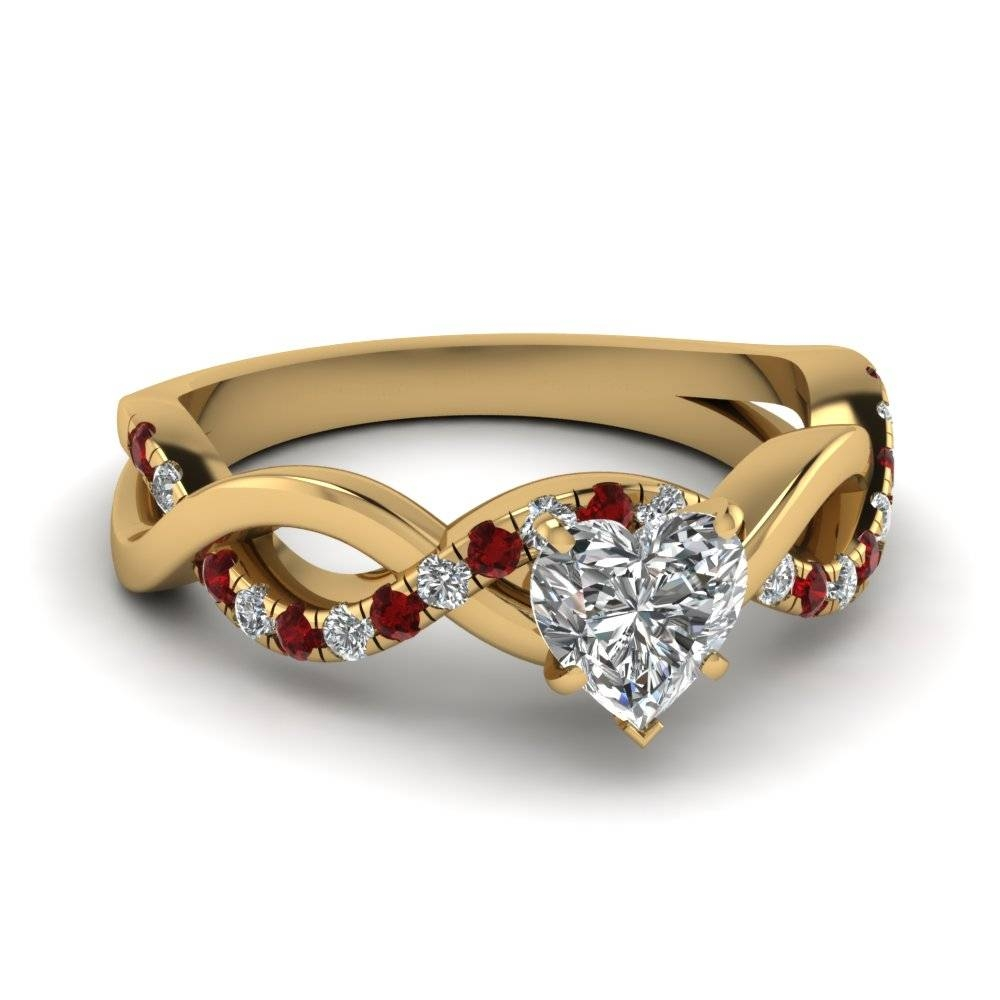 Heart Shaped Infinity Diamond Ring With Ruby In 14K Yellow Gold With Regard To Ruby Engagement Rings Yellow Gold (View 10 of 15)