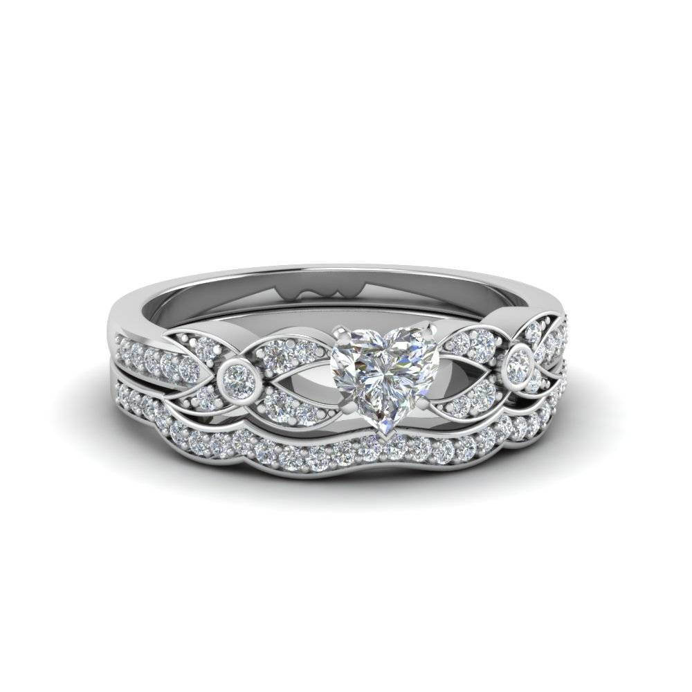 Heart Shaped Pave Diamond Accented Delicate Wedding Ring Set In For Platinum Engagement And Wedding Rings Sets (View 3 of 15)