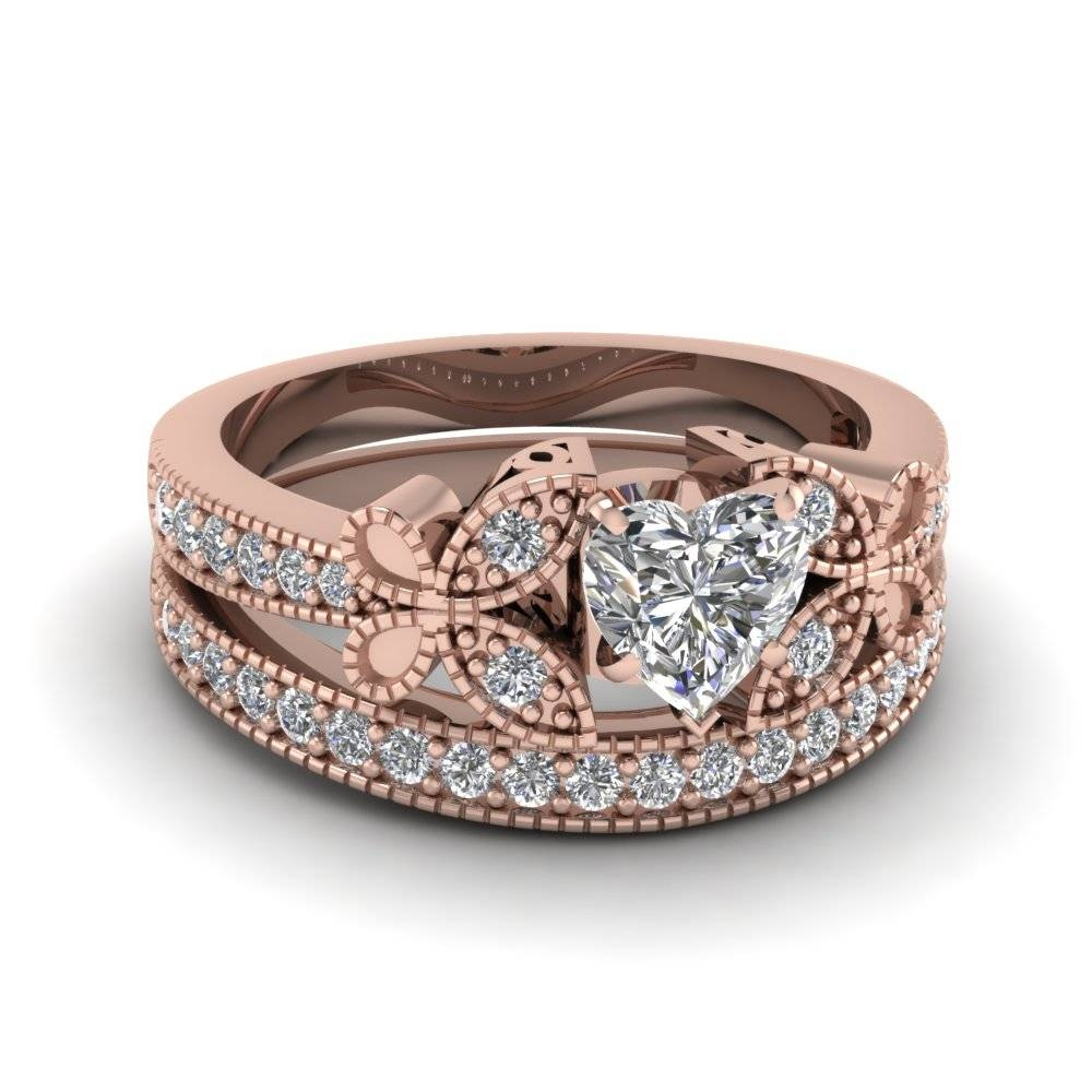 Heart Shaped Vintage Butterfly Diamond Wedding Ring In 14k Rose Within Rose Gold Wedding Bands Sets (View 8 of 15)