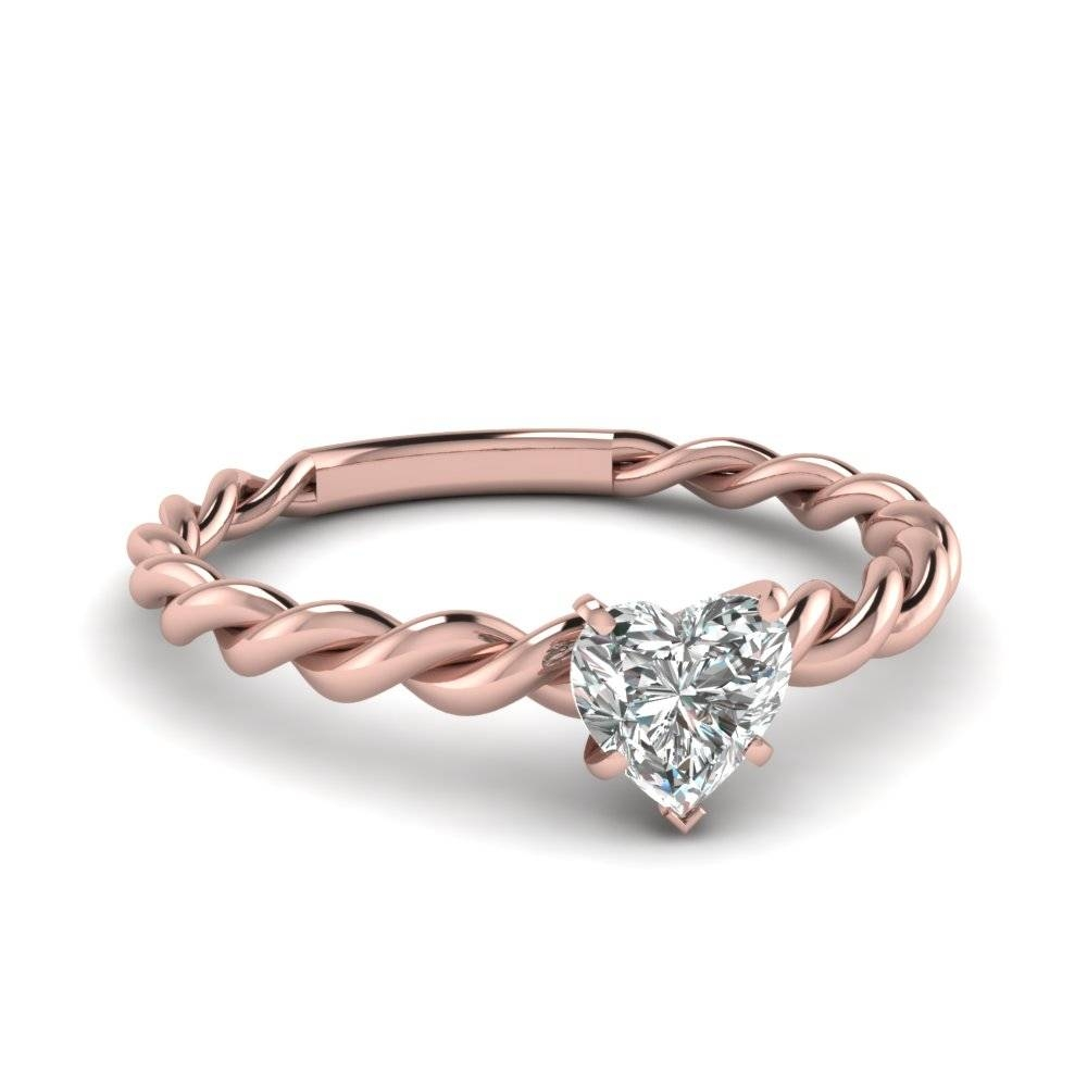 Heart Solitaire Braided Ring In 14K Rose Gold | Fascinating Diamonds With Wedding Rings That Looks Like A Rose (View 9 of 15)